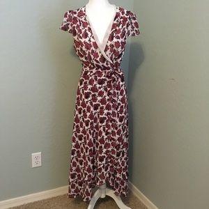Betsy Johnson fall floral wrap maxi dress